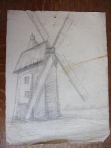 3. Dessin Au Crayon. Moulin De France. Circa 1940