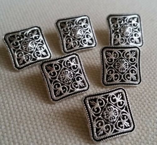 TREE SILVER METAL BUTTONS – SHANK FLOWER CUTOUT UK SQUARE CARDIGAN CELTIC