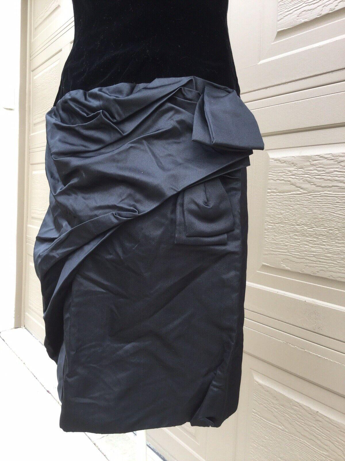 Scaasi Boutique Couture Black Velvet Satin Dress,… - image 3