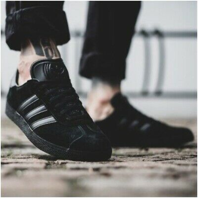 Adidas Gazelle Mens Trainers Triple Black Suede Shoes Limited Edition All Sizes | eBay
