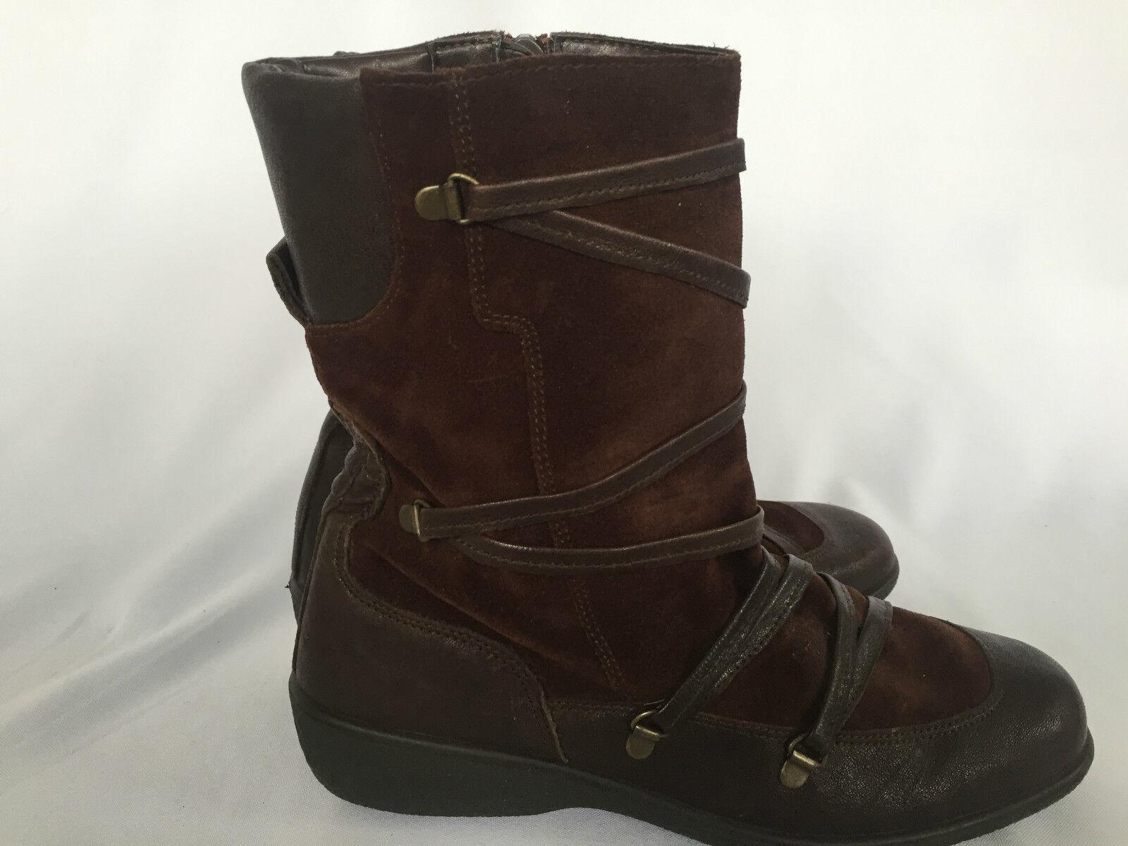 Ankle Boots Aerosoles Brown Suede Leather Zip Medium Heel Size 9 Medium