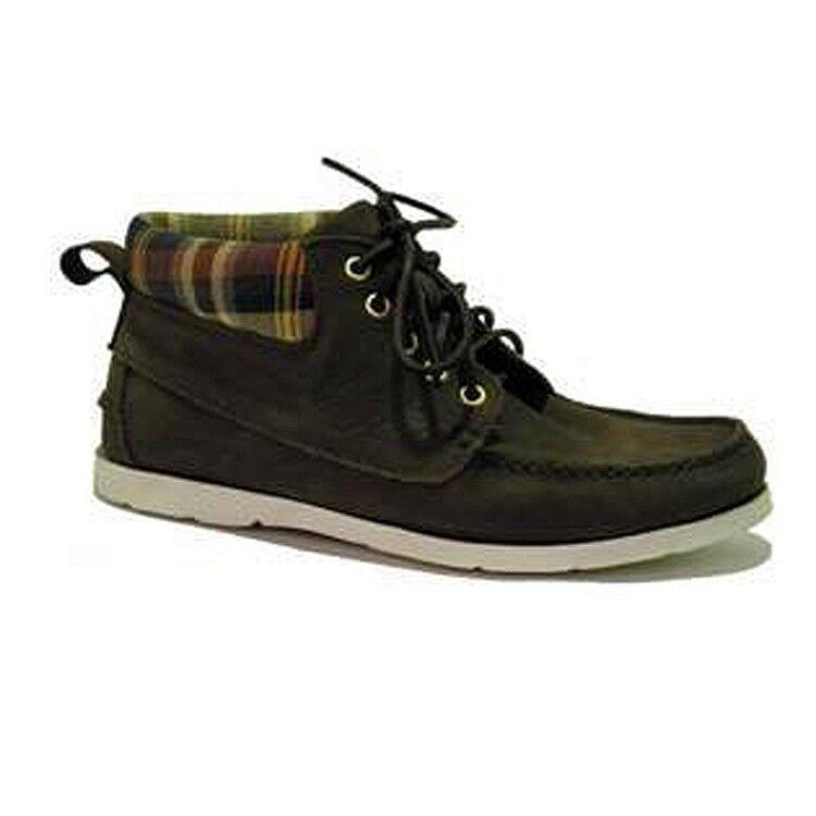 blueeport Men's Boots shoes Dakota Espresso - Boat shoes Moss Green - Size 44