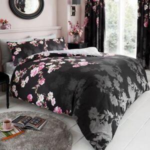 Roseanne-Floral-Parure-Housse-de-Couette-King-Size-Parure-de-Lit-Reversible-Noir