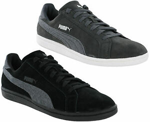 Puma-Suede-Classic-Smash-Jersey-Leather-Mens-Trainers-Grey-Black