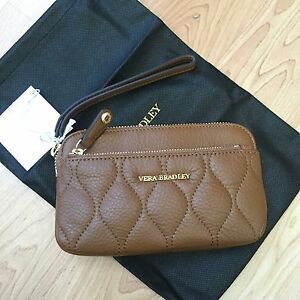 f8f069e27c Image is loading Vera-Bradley -Quilted-Sophie-Wristlet-Cognac-Sycamore-Leather-