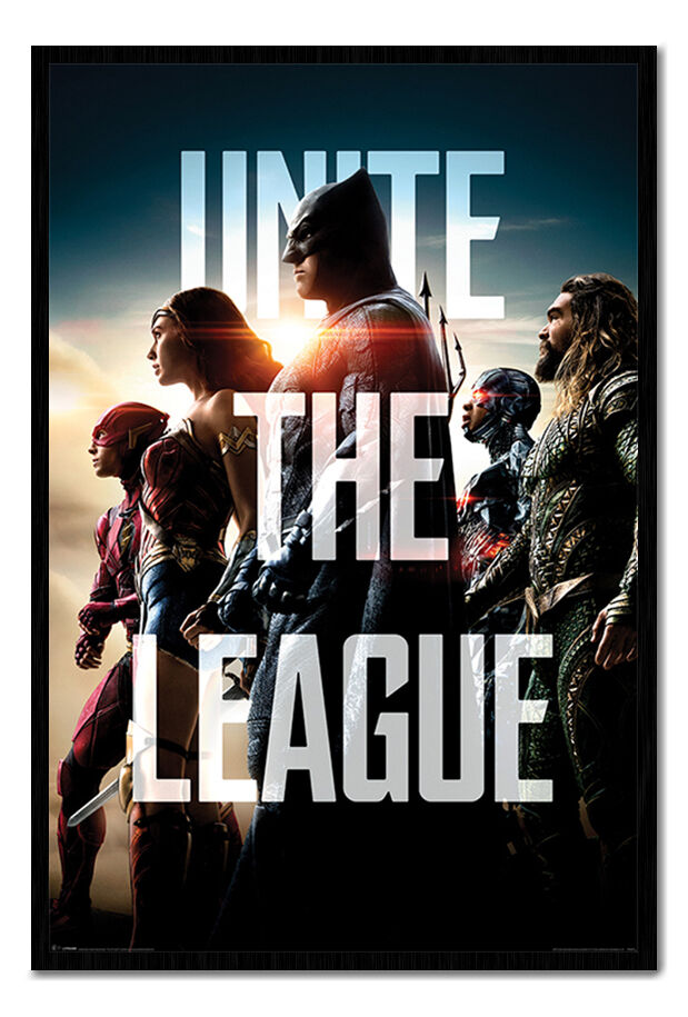 Justice League Unite The League Poster Framed Cork Pin Notice Board With Pins