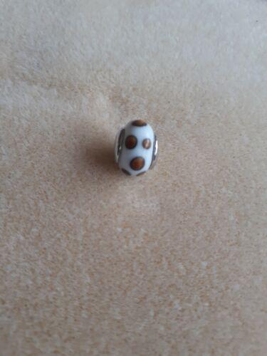 brown dot design white Murano glass charm For Snake Bracelet//necklace