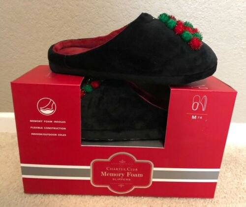 NEW Charter Club Women/'s Christmas Tree Pom-Poms Clog Slippers Sizes M//L//XL