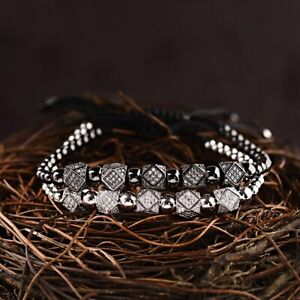 Luxury-5Pcs-Cubic-Zircon-Polygon-Copper-Bead-Adjustable-Women-Men-039-s-Bracelets