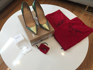 3b2b8d3765e Details about Christian Louboutin So Kate Python Mermaid Red Sole Mimosa  Pumps Size 7.5