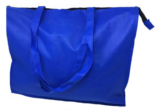 "Large Big  20/"" Zippered Reusable Grocery Shopping Tote Bags With Gusset"