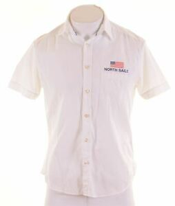 NORTH-SAILS-Mens-Shirt-Short-Sleeve-Medium-White-Cotton-MT95