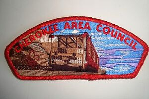 OA-CHEROKEE-AREA-COUNCIL-SHOULDER-PATCH-CSP-RED-MYLAR-PLASTIC-BACK-SERVICE-FLAP