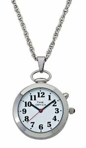 TimeOptics-Women-039-s-Talking-Silver-Tone-Pendant-Day-Date-Alarm-Watch-GWC300S