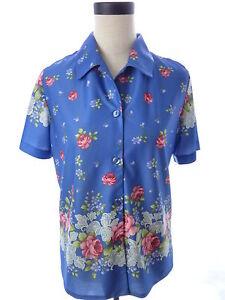 Haband-Blue-Purple-Floral-Print-Button-Down-Shirt-Blouse-Vintage-M-Top