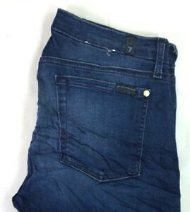 7-FOR-ALL-MANKIND-Women-039-s-Dark-Wash-Stretch-Mid-Rise-Ankle-Skinny-Jeans-31-x-30