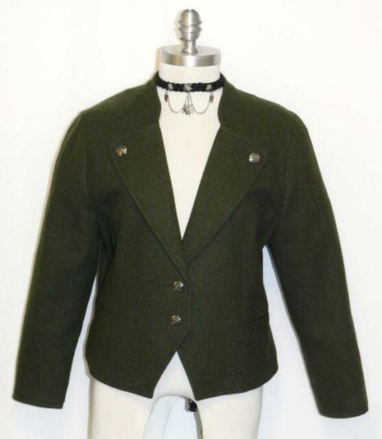 Boiled Wool Green Women German Riding Short Dress Suit Coat Jacket