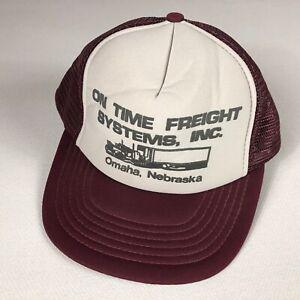 On Time Freight Systems Snapback Hat VTG Cap Foam Front Trucker Omaha Nebraska