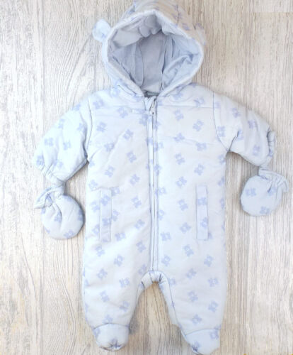 Baby Boys clothes Snowsuit  padded All in One coat Blue Teddy 0-3m 3-6m 6-12m