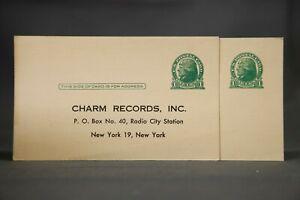 2-US-Postal-Cards-Charm-Records-Questionnaire-Jefferson-1-Cent-Postcards