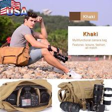 Waterproof SLR Canvas Camera Bag Backpack Travel Bag Rucksack Shoulder Messenger