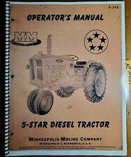 Minneapolis Moline 5 Star Diesel Tractor Owners Operators Manual S 242