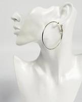 Paire de boucles d'oreilles créoles anneau argenté 6cm