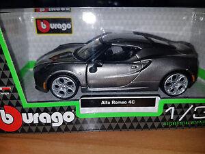 Alfa-Romeo-4C-Grigia-Scala-1-32-Die-Cast-Bburago-Nuova
