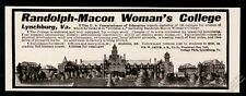 1909 Randolph Macon Woman's College Virginia campus photo vintage print ad