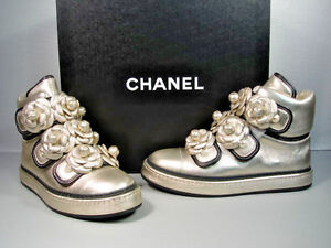 56783b370434 Image is loading CHANEL-Metallic-Gold-Camellia-Lambskin-High-Top-Sneakers-