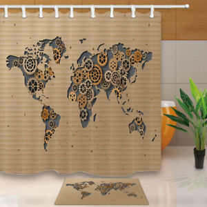 Mechanical world map brown bathroom fabric shower curtain set image is loading mechanical world map brown bathroom fabric shower curtain gumiabroncs Images