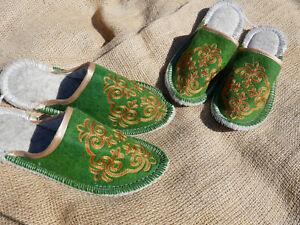 Filz-Hausschuhe-Handarbeit-aus-Kirgisien-Filzpantoffeln-Filzpuschen-Filzschuhe