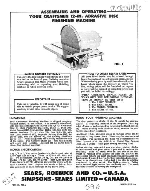 Craftsman 12 Sander Parts Manual Guide