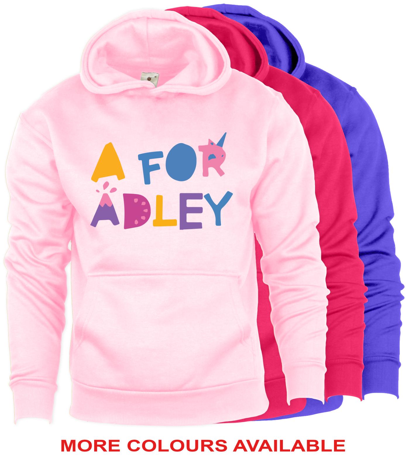 A for Adley Kids Girls Hoodie/Hoody Hooded Sweatshirt Fun Youtuber Gamer Gifts