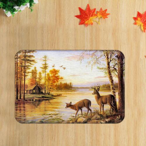 """Cute Deer River Forest Floor Door Mat Shower Rug Bathroom Bedroom Carpet 19x31/"""""""