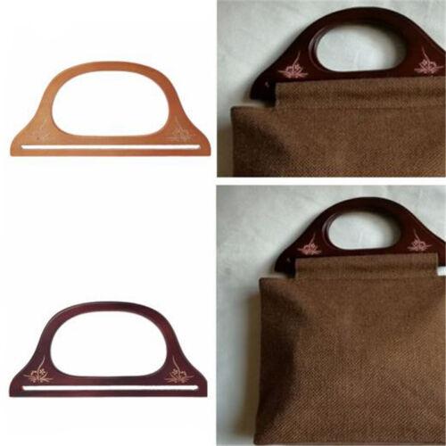 Vintage Wooden Handle Bag Handbag DIY Purse Handle Handcraft Accessories LH