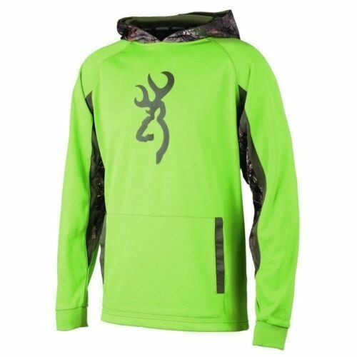 Browning Youth Antler Pullover Performance Hoodie Sweatshirt Blaze /& Green M