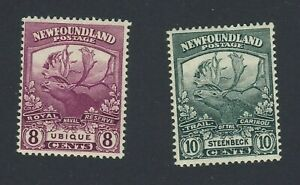 2x-Newfoundland-Mint-Stamps-121-8c-MNG-122-10c-MH-Caribou-Guide-Value-55-00
