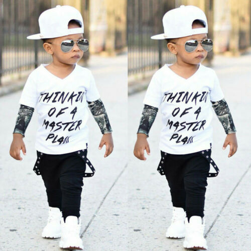 Newborn Infant Baby Boys Letter Tattoo T shirt Tops Pants Outfits Clothes Set