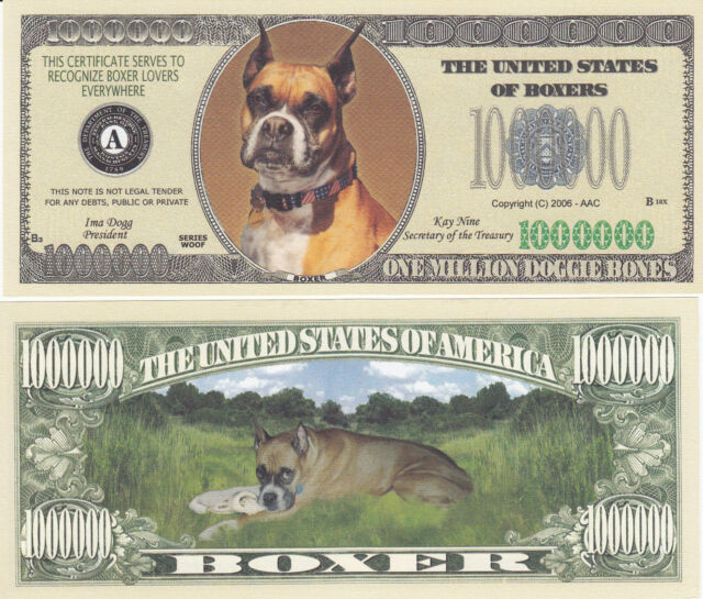 M FAKE Collectible MONEY-K9 ITEM 10-Bulldog Dog Dollar Bills--Novelty