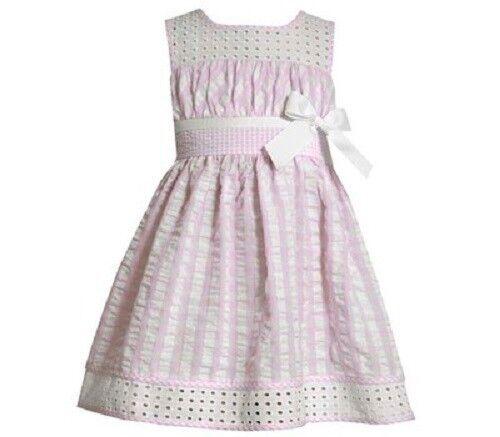 cff40a50792 Bonnie Jean Girls Pink White Eyelet Seersucker Spring Summer Dress Size 6 |  eBay