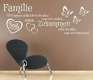 x158 wandtattoo spruch familie wir haben aber zusammen sticker wandaufkleber ebay. Black Bedroom Furniture Sets. Home Design Ideas