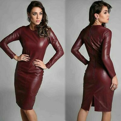 WOMEN REAL LAMBSKIN CELEBRITY LEATHER DRESS PLUS SIZE CUSTOM MADE FOR  VALENTINES | eBay