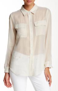 Equipment Silk Slim Signature Sheer Shirt Light Gold M NWT