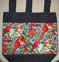 Handmade Denim Walker Tote Bag Flag Cardinal Birds Holly Theme