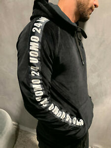 Details about 24UOMO Hoodie Velvet Ultra Black Sweater Logo Band Stripe Velour New 2019 SIZE S