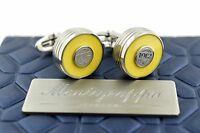 Montegrappa Piacere Stainless Steel & Yellow Inlay Gunmetal Emblem Cufflinks