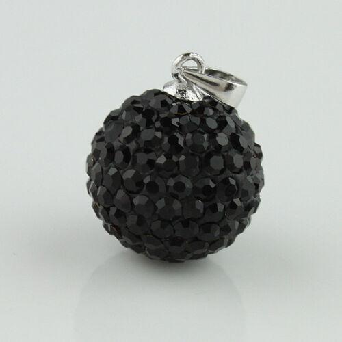 New Sparkle Tchèque Cristal Rond Boule Disco S925 Pendentif en argent 14 mm pour collier