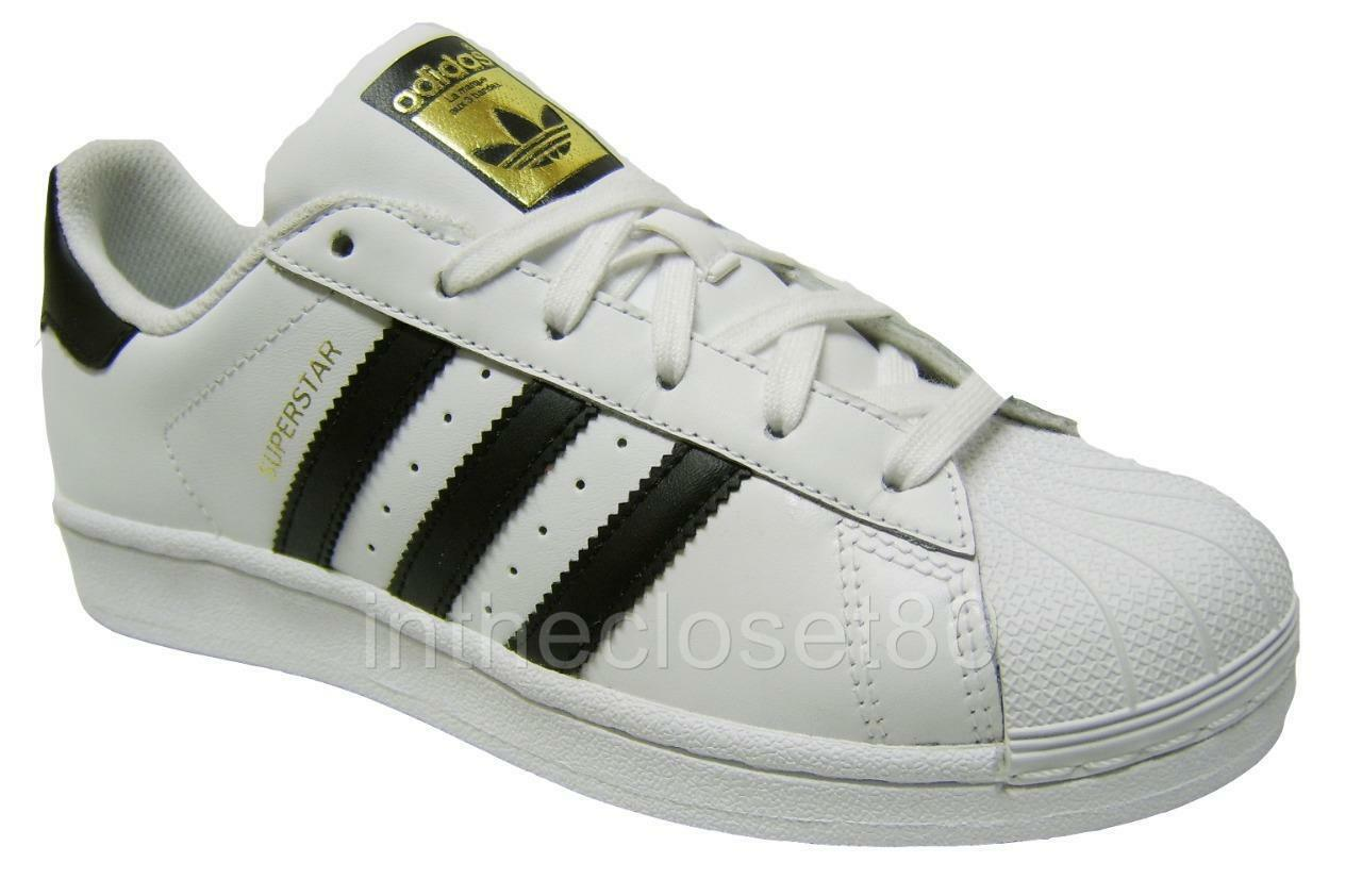 Adidas Superstar blanc Noir Gold Juniors femmes  Girls Boys Shell Toe C77154