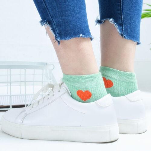 Fashion Women Girl Heart Casual Cute Heart Ankle High Low Cut Soft Cotton Socks